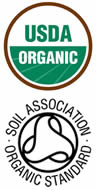 USDA Organic and Soil Association logos